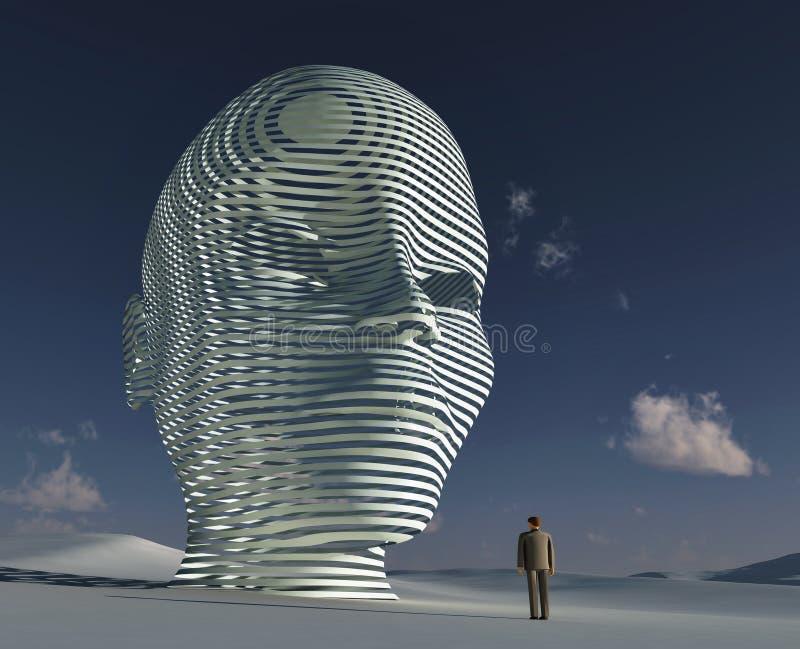 Homem que está antes da cabeça mystical grande ilustração royalty free