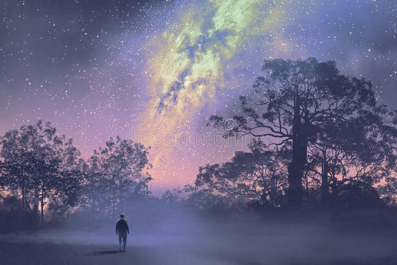 Homem que está contra a Via Látea acima da floresta ilustração do vetor