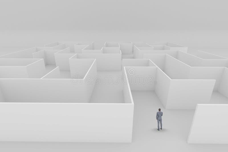 Homem que está em um labirinto foto de stock
