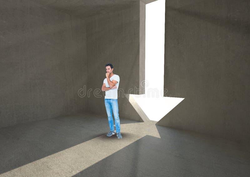 Homem que está na entrada da forma da seta imagem de stock