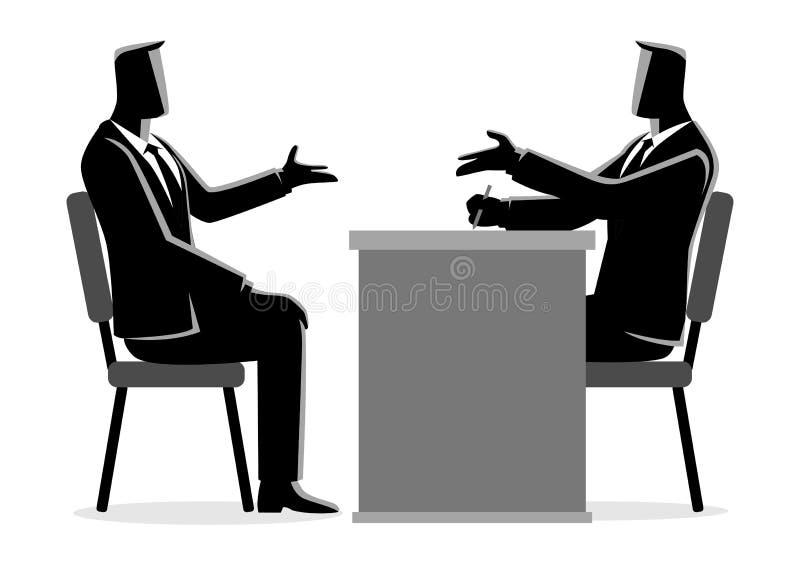 Homem que está sendo entrevistado pelo recruta ilustração stock