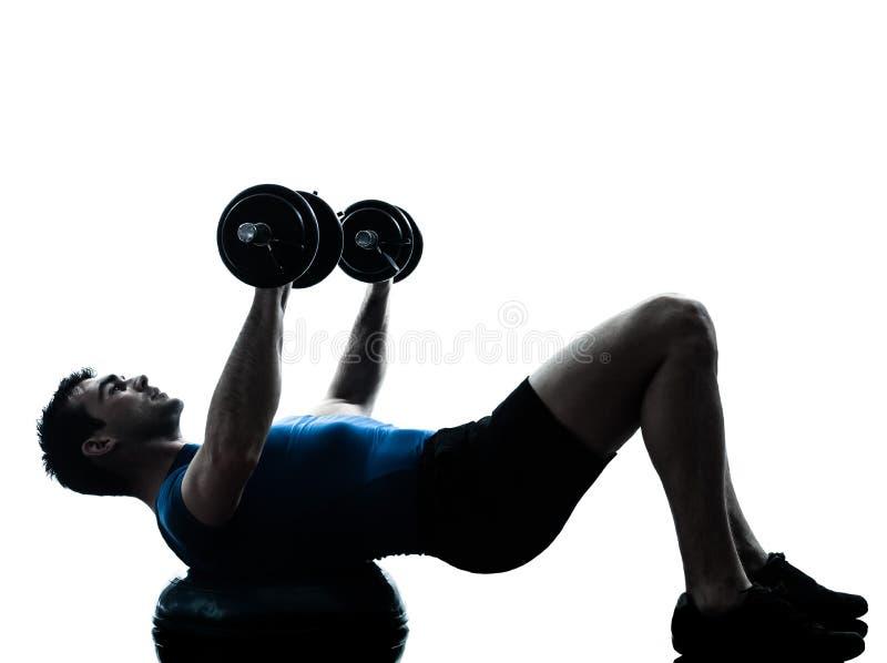 Homem que exercita a postura da aptidão do exercício do treinamento do peso do bosu imagem de stock royalty free