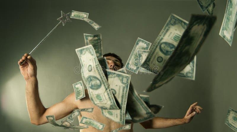 Homem que faz a explosão do dólar imagens de stock