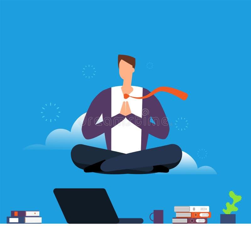 Homem que faz a ioga e a meditação Homem de negócios que pendura na pose dos lótus sobre a mesa de escritório Acalme para baixo e ilustração do vetor