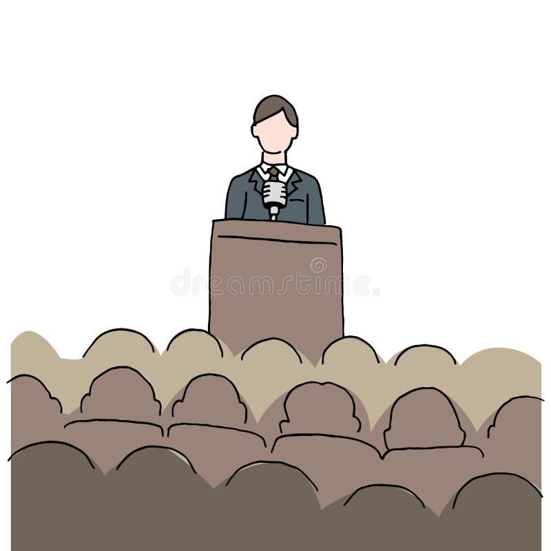 Homem que faz o discurso público ilustração royalty free