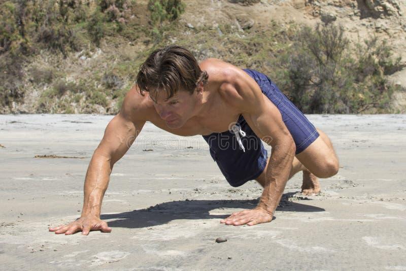 Homem que faz o exercício do rastejamento do urso na praia fotografia de stock royalty free