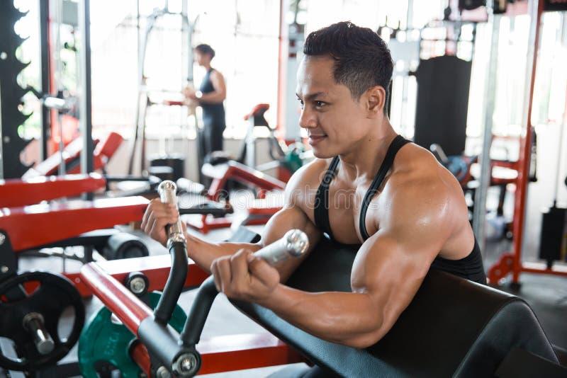 Homem que faz o exercício para o bíceps fotografia de stock royalty free