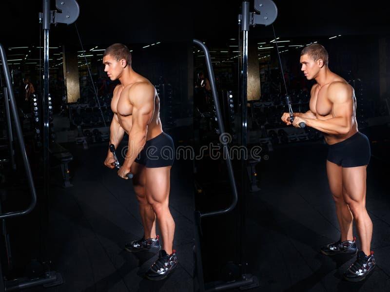 Homem que faz o exercício para o tríceps tutorial fotos de stock royalty free