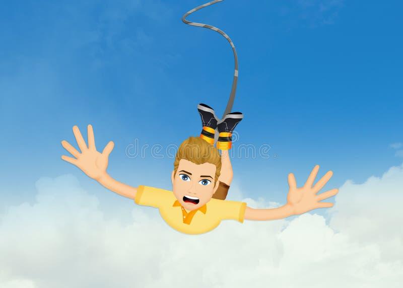 Homem que faz um salto do tirante com mola ilustração royalty free