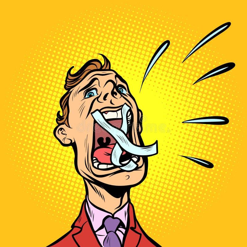Homem que grita a boca gravada ilustração royalty free