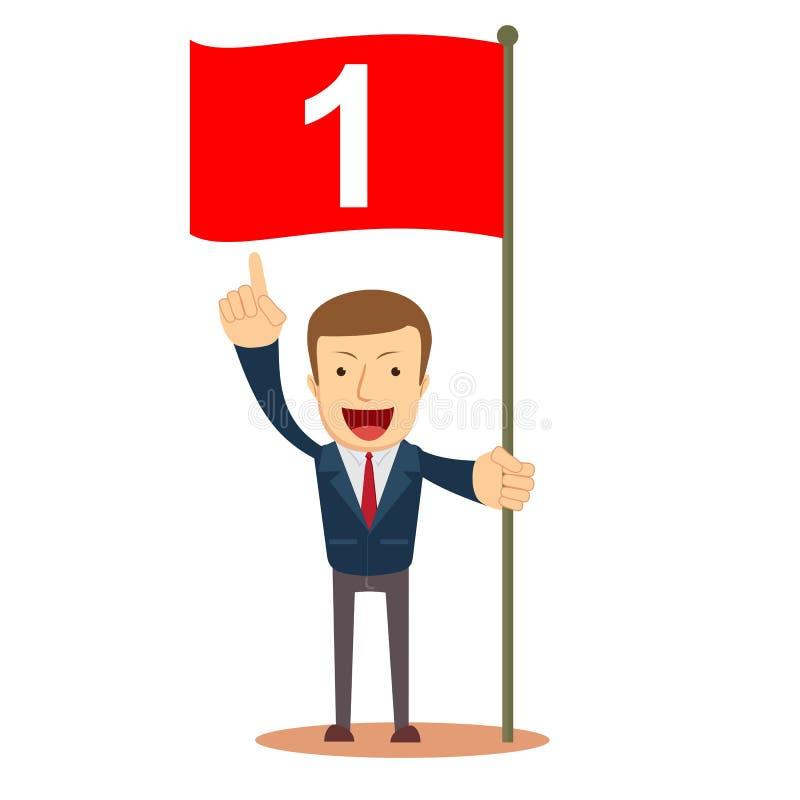 Homem que guarda a bandeira do número um Bem sucedido comece acima o conceito do negócio Ilustração do vetor ilustração do vetor
