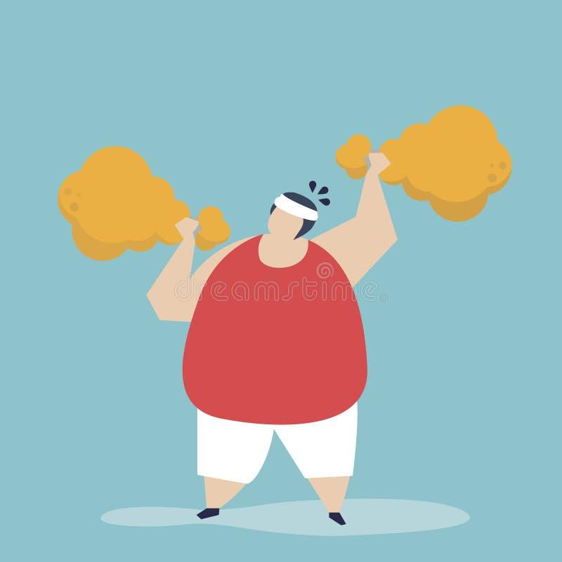 Homem que guarda Fried Chicken Drumstick ilustração royalty free