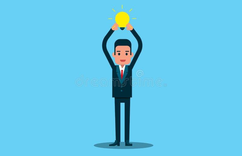 Homem que guarda o bulbo ideias novas para o sucesso Conceito do negócio do vetor imagens de stock royalty free