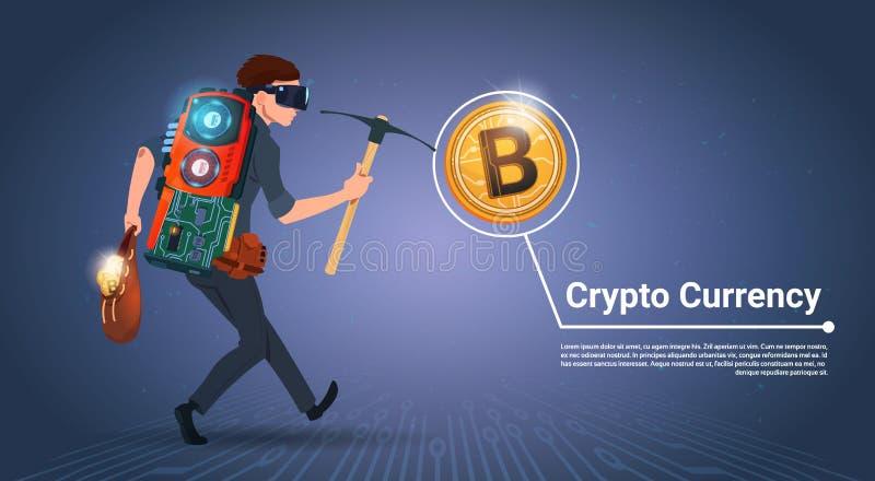 Homem que guarda o conceito cripto da moeda do dinheiro de Digitas do conceito da mineração de Bitcoin da picareta ilustração royalty free