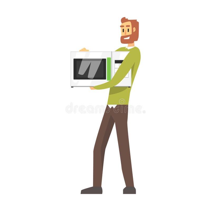 Homem que guarda o forno micro-ondas, a compra do armazém para o equipamento doméstico e objetos eletrônicos para a casa ilustração do vetor