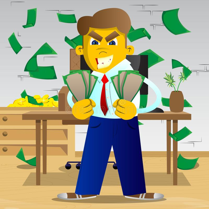 Homem que guarda ou que mostra contas de dinheiro ilustração stock