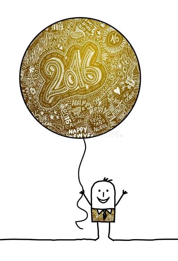 Homem que guarda um balão 2016 grande ilustração stock