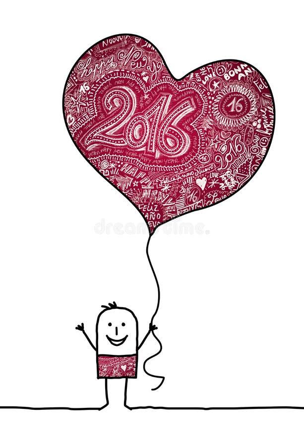 Homem que guarda um balão grande do coração 2016 ilustração stock