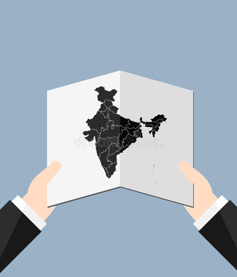 Homem que guarda um mapa da Índia ilustração stock