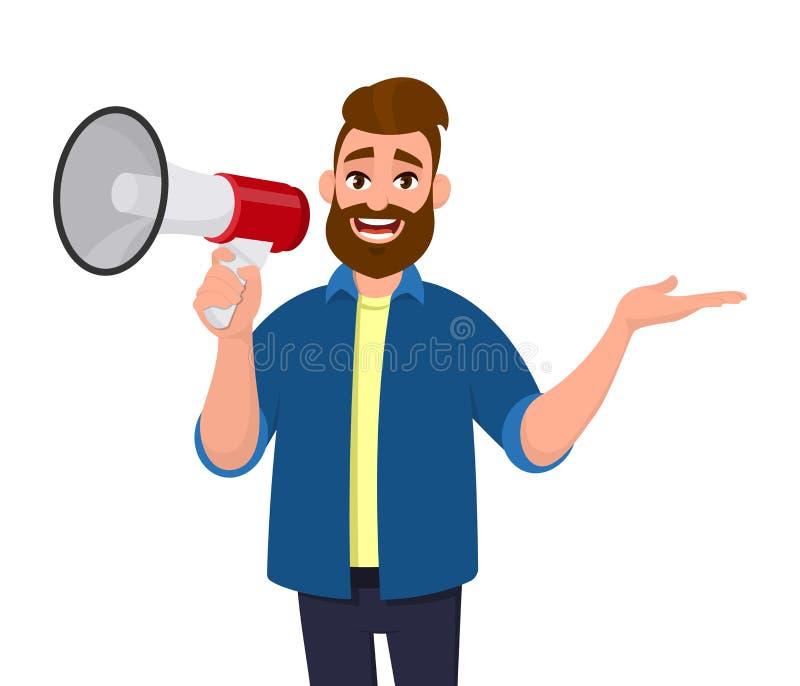 Homem que guarda um megafone/altifalante, gritaria, anunciando algo e mostrando o gesto de mão lateralmente afastado ao espaço da ilustração do vetor