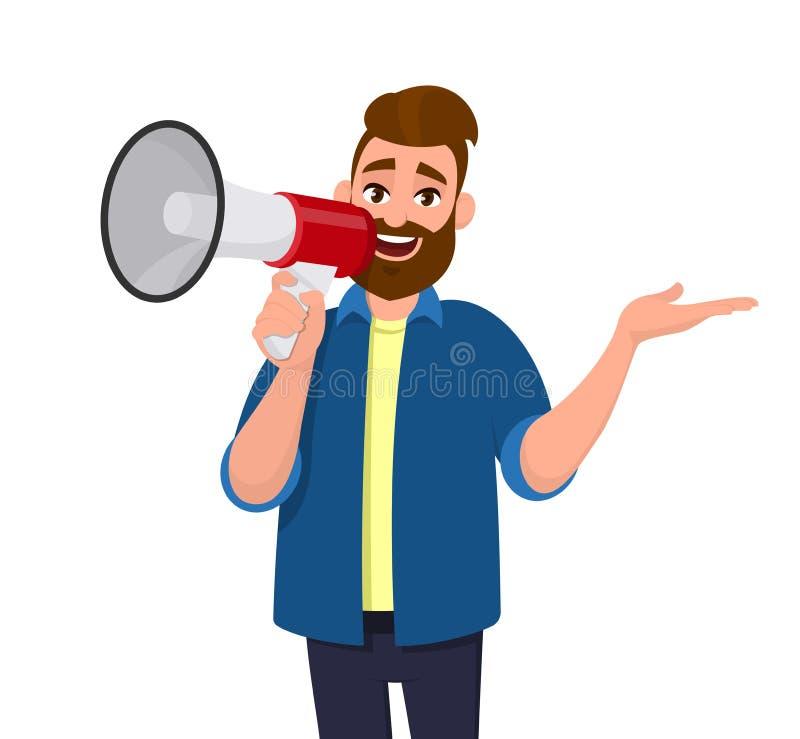 Homem que guarda um megafone/altifalante próximo a sua boca, gritaria, anunciando algo e mostrando o gesto de mão lateralmente af ilustração stock