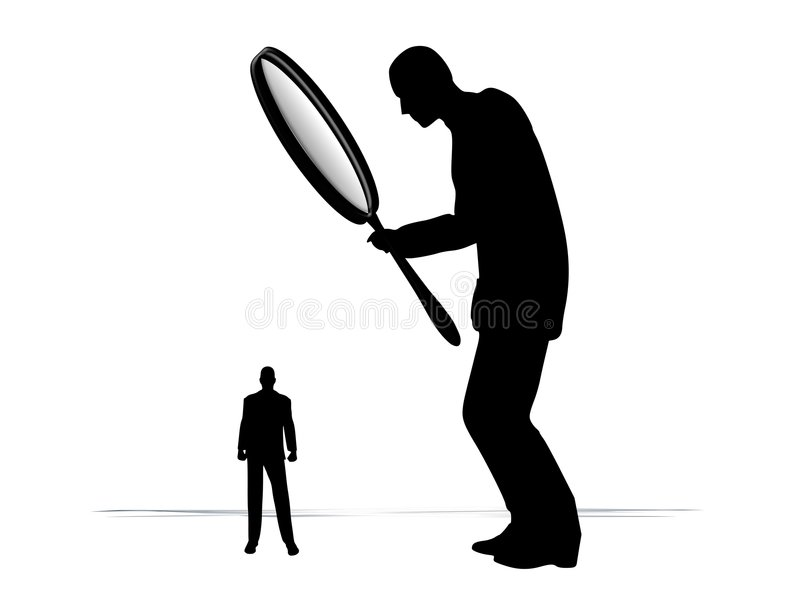 Homem que investiga com lupa ilustração stock