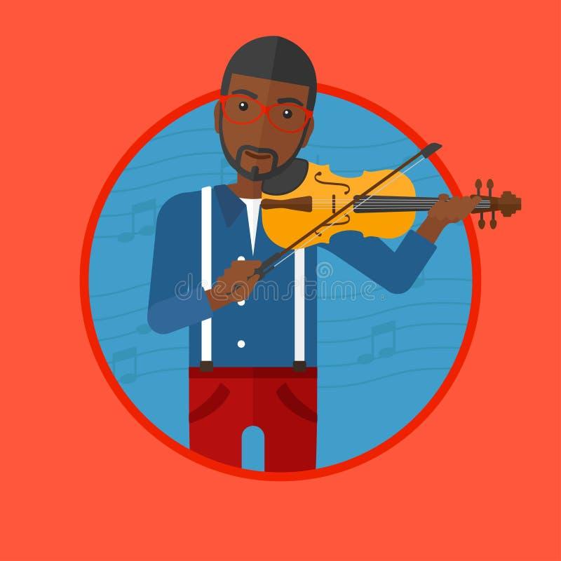 Homem que joga a ilustração do vetor do violino ilustração do vetor