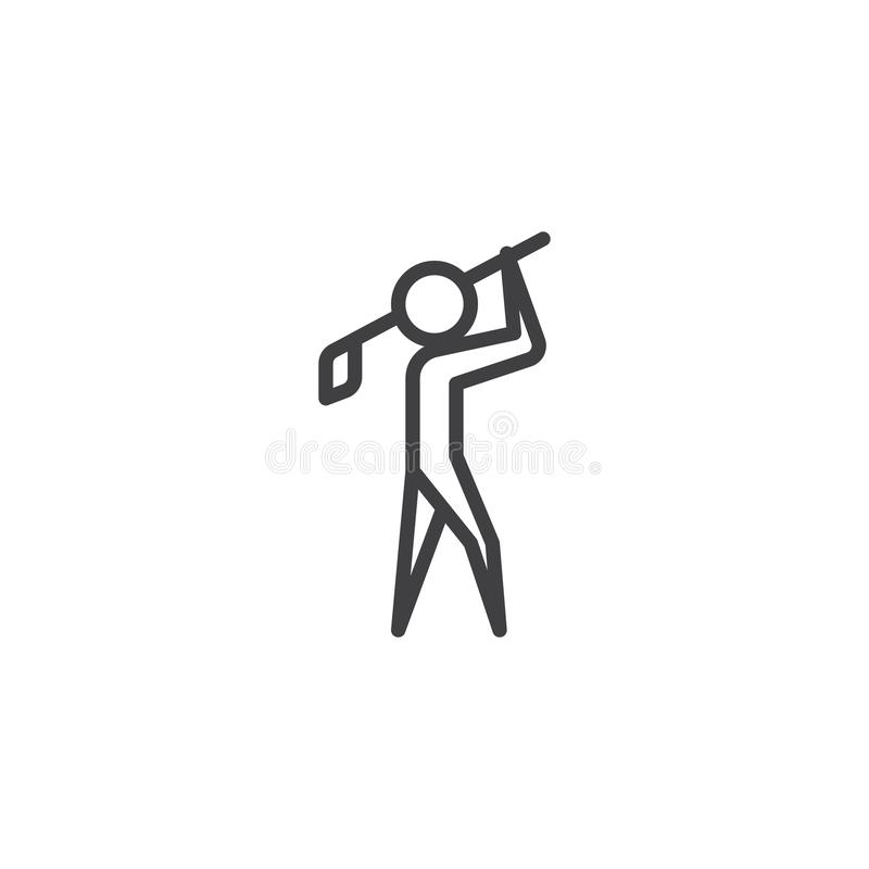 Homem que joga a linha ícone do golfe ilustração royalty free