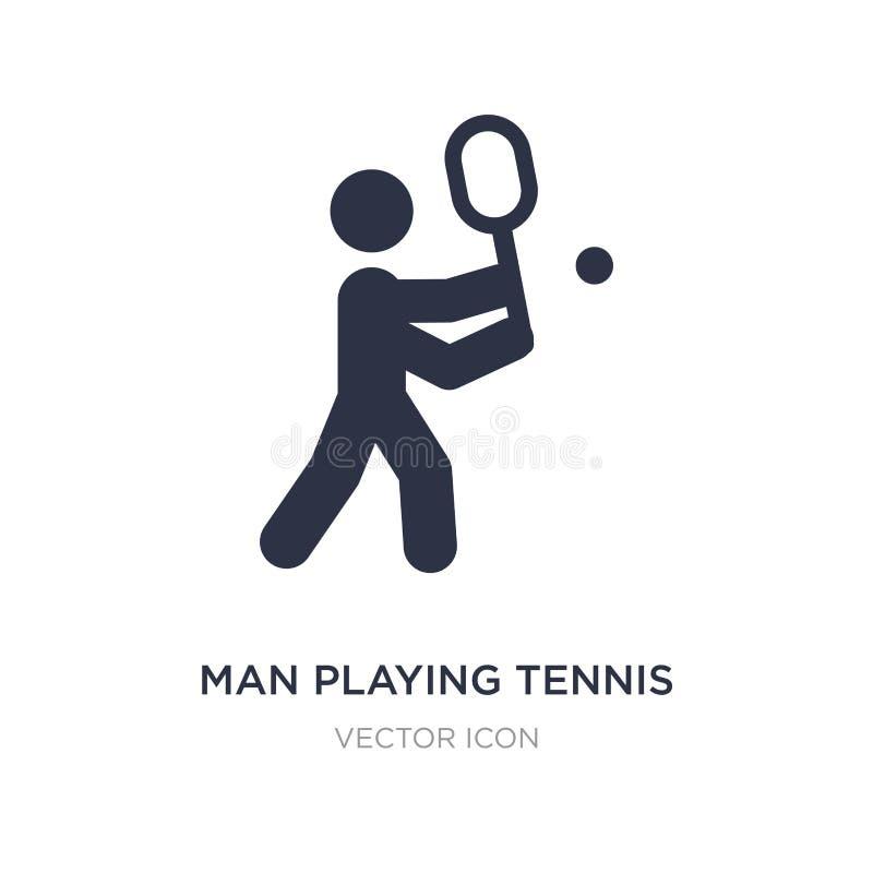 homem que joga o ícone do tênis no fundo branco Ilustração simples do elemento do conceito dos esportes ilustração royalty free