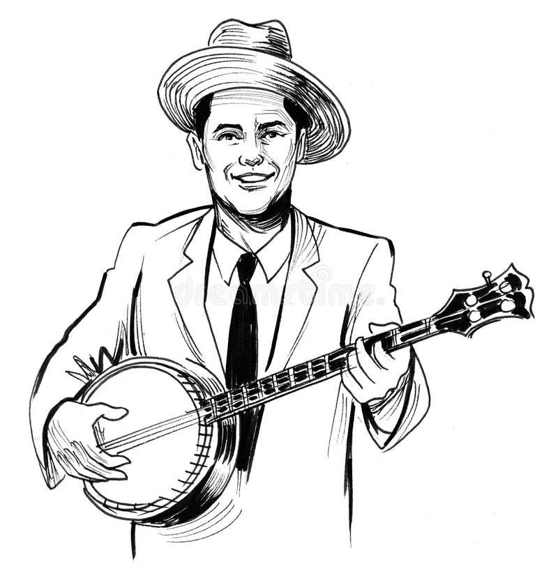 Homem que joga o banjo ilustração stock