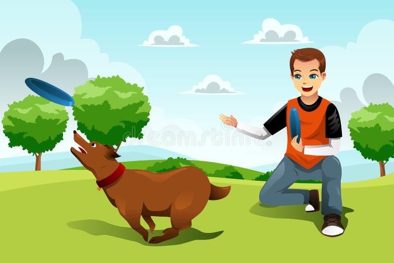 Homem que joga o frisbee com seu cão ilustração stock