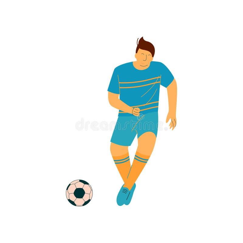 Homem que joga o futebol, jogador de futebol masculino Character do futebol na ilustração uniforme do vetor dos esportes azuis ilustração do vetor
