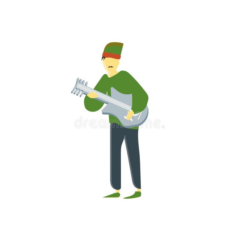 Homem que joga o sinal e o símbolo do vetor do vetor da guitarra isolados no fundo branco, homem que joga o conceito do logotipo  ilustração do vetor