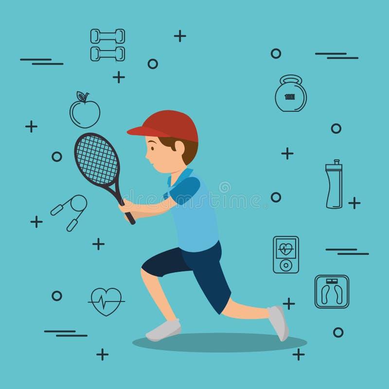 Homem que joga o tênis com ícones dos esportes ilustração do vetor