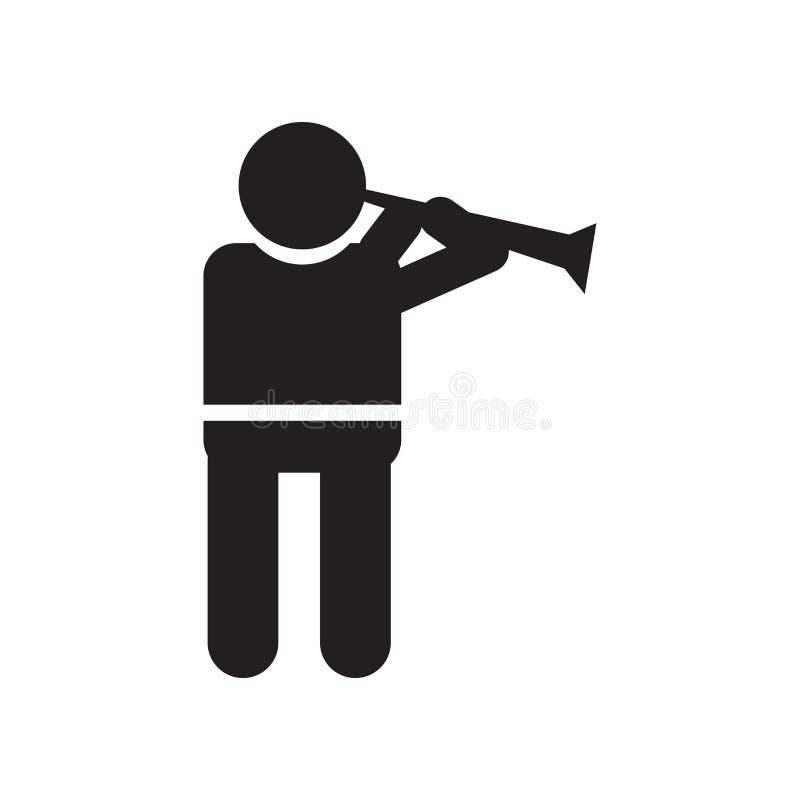 Homem que joga um sinal e um símbolo do vetor do ícone da flauta isolados no fundo branco, homem que joga um conceito do logotipo ilustração stock