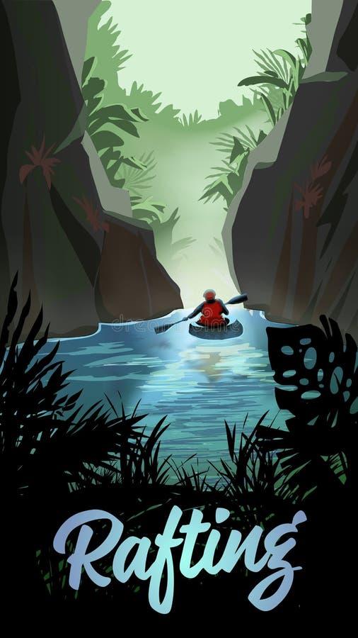 Homem que Kayaking no rio da montanha ilustração royalty free