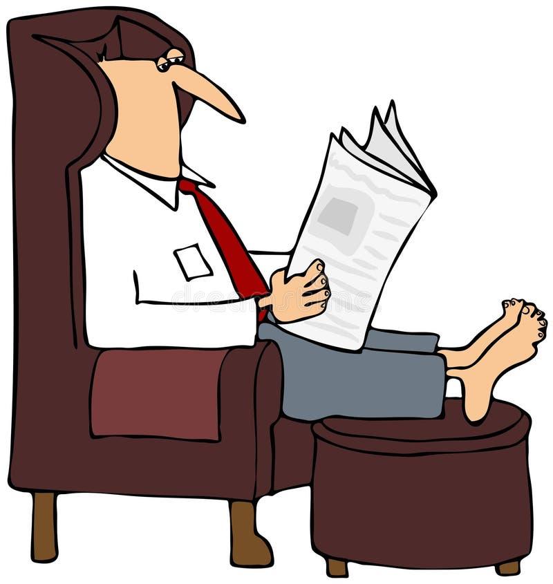 Homem que lê um jornal ilustração stock