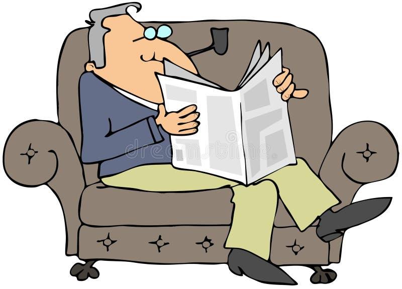 Homem que lê um jornal ilustração royalty free