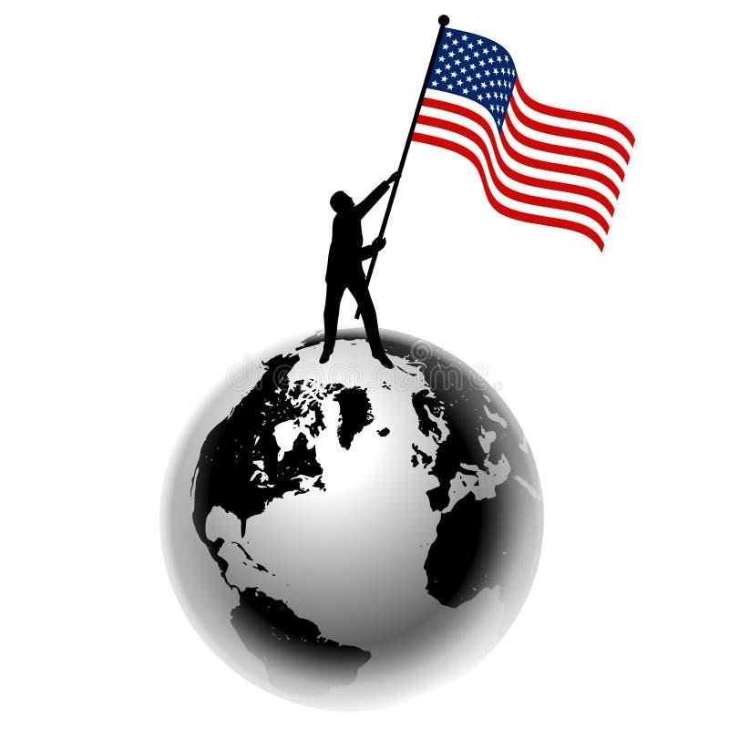 Homem que levanta a bandeira dos E.U. na terra ilustração stock