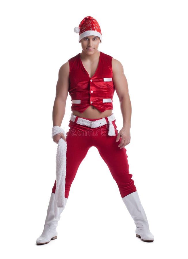 Homem que levanta no traje da celebração de Papai Noel fotografia de stock royalty free