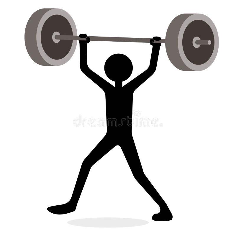 Homem que levanta peso, conceito engraçado dos desenhos animados ilustração stock