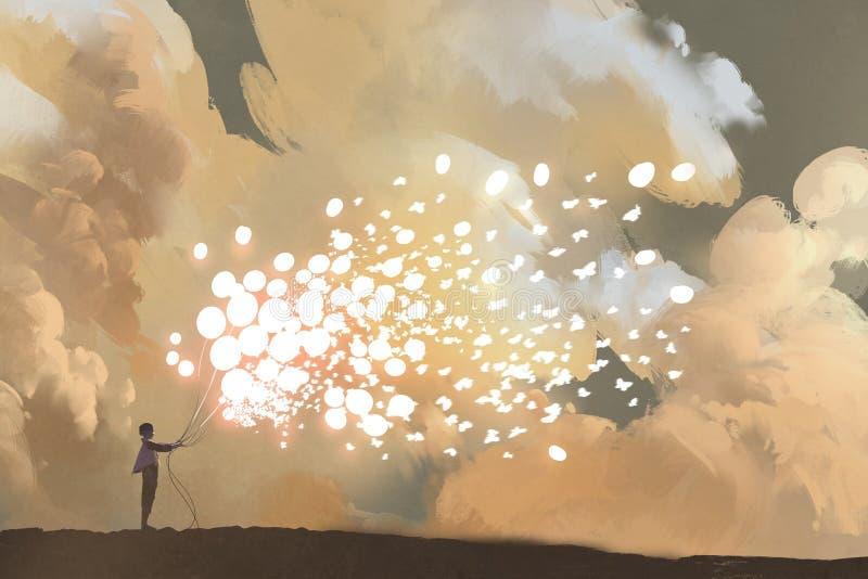 Homem que libera balões e o rebanho de incandescência das borboletas ilustração royalty free