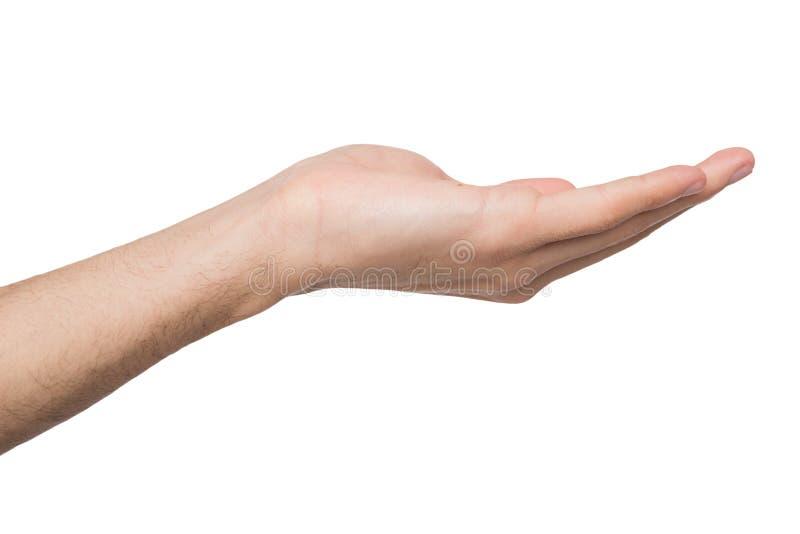Homem que mantém aberto da palma isolado no branco imagens de stock
