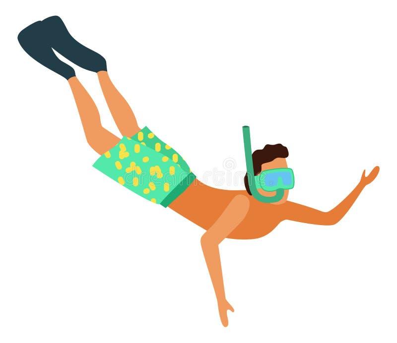 Homem que mergulha no homem isolado máscara de mergulho do vetor ilustração stock