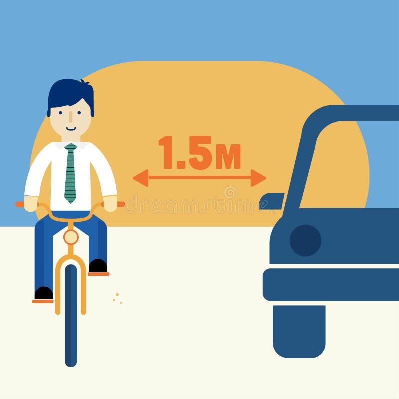 Homem que monta uma bicicleta ilustração royalty free