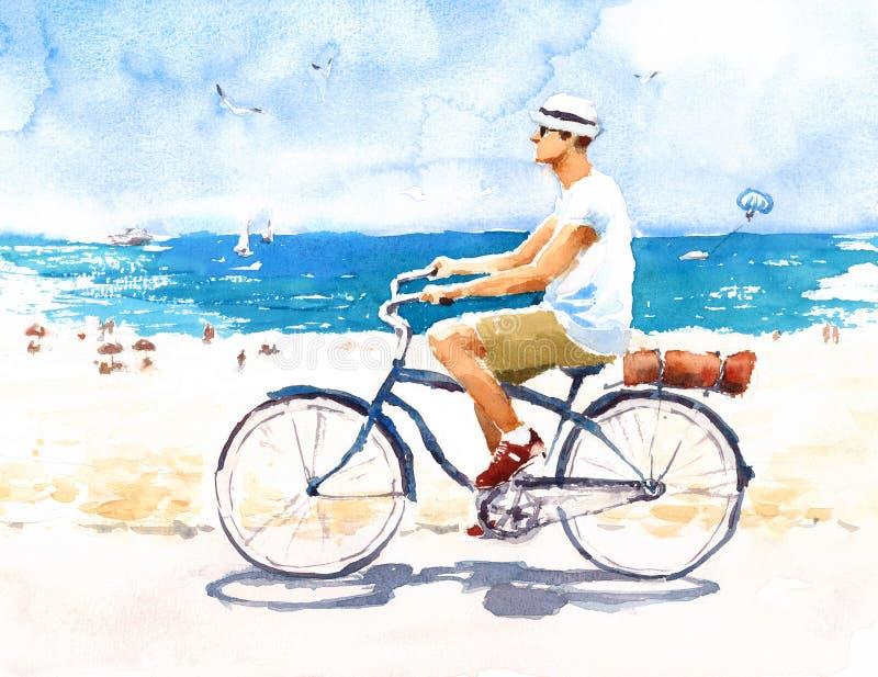 Homem que monta uma bicicleta do vintage na ilustração do verão da aquarela da praia pintado à mão ilustração royalty free