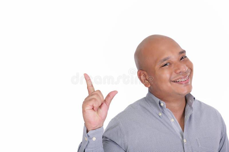Homem que mostra algo imagem de stock