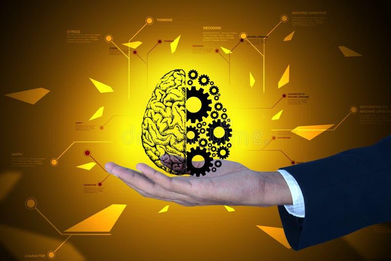 Homem que mostra as rodas do cérebro e de engrenagem ilustração stock
