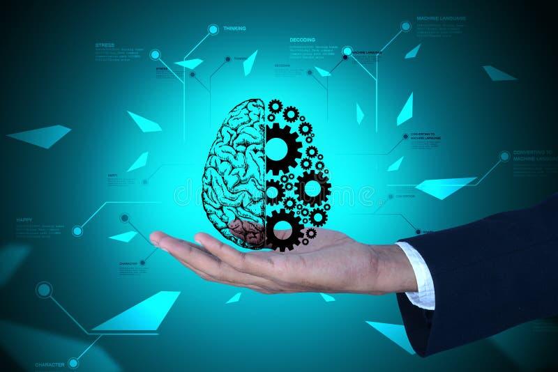 Homem que mostra as rodas do cérebro e de engrenagem ilustração do vetor