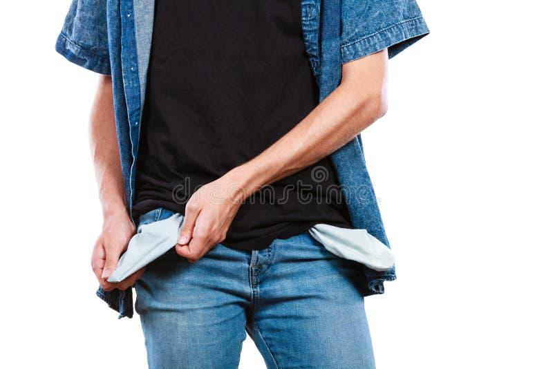 Homem que mostra bolsos vazios fotos de stock